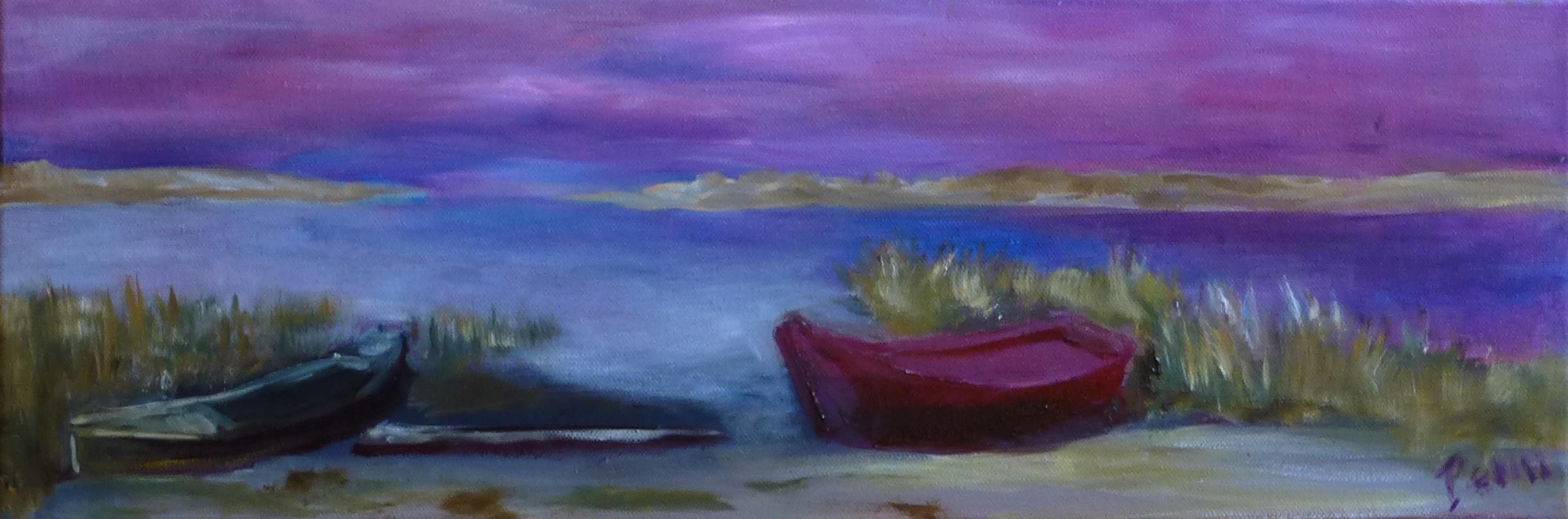 Barques sur fond violet