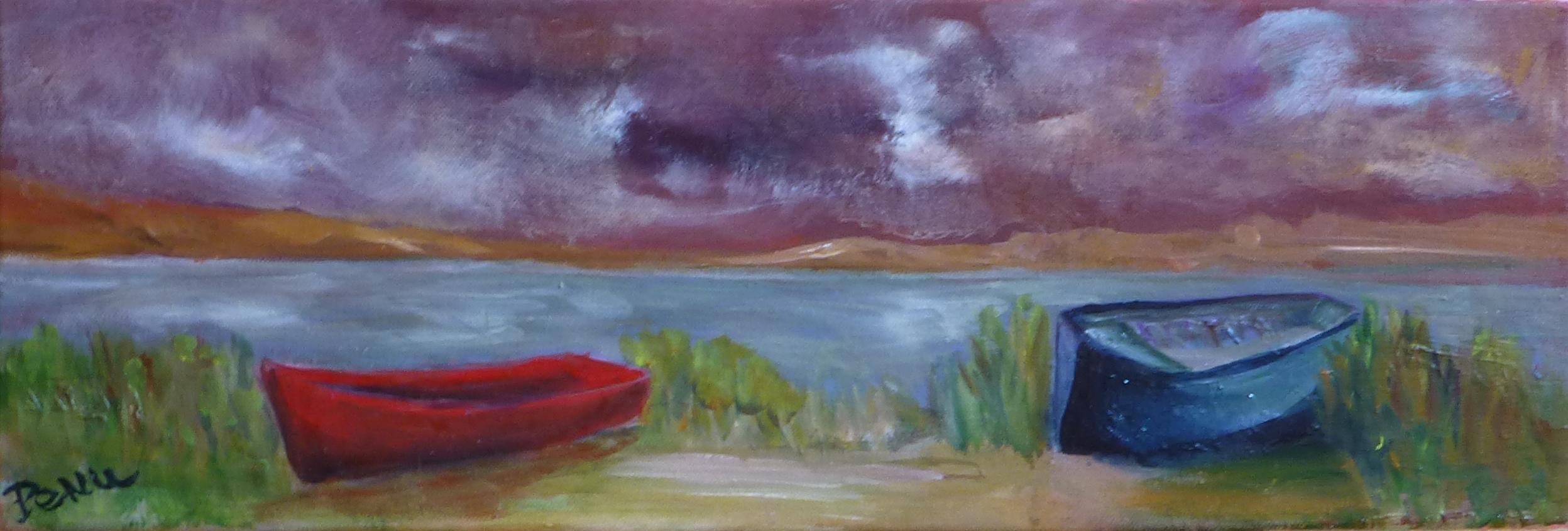 Barques sur fond rouge indien
